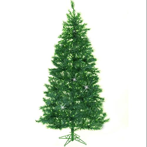 7.5' Emerald Green Pre-Lit Laser Tinsel Artificial Christmas Tree - Green Lights