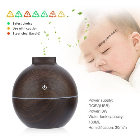 NEW Upgraded YX-010 USB Mini Atomization Humidifier 130ML Aroma Essential Oil Diffuser 7 Color Change Air Purifier for Home Office(Dark Wood)