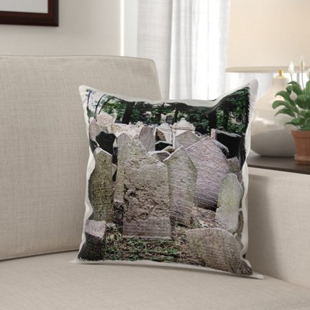 The Holiday Aisle Menahan Headstones in Cemetery in Prague Graveyard Grave Stones Creepy Spooky Gothic Halloween Pillow Cover (Halloween Cemetary Fence)