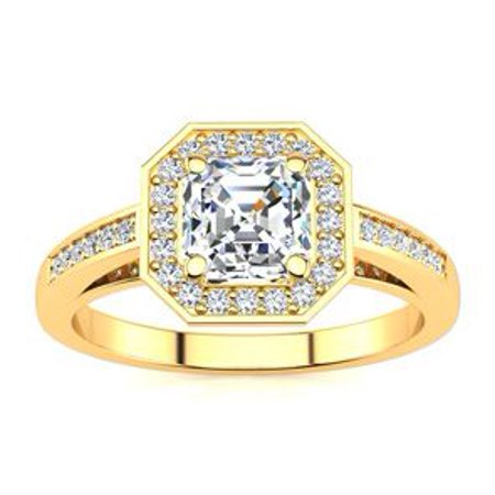 1 1/4 Carat Asscher Cut Halo Diamond Engagement Ring In 14 Karat Yellow Gold Size 9.5