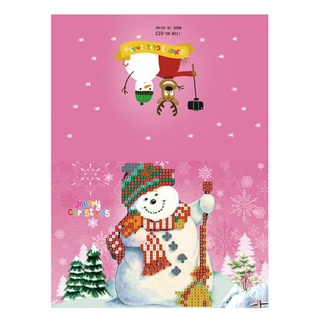 Merry Christmas Cards DIY Diamond Painting Handmade Cards Round Drill Greeting Cards Rhinestones Embroidery Arts Crafts Gifts (Painting Card)