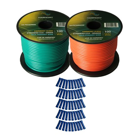 Harmony Audio Primary Single Conductor 16 Gauge Power or Ground Wire - 2 Rolls - 200 Feet - Green & Orange for Car Audio / Trailer / Model Train / (Best Car Audio Power Wire)