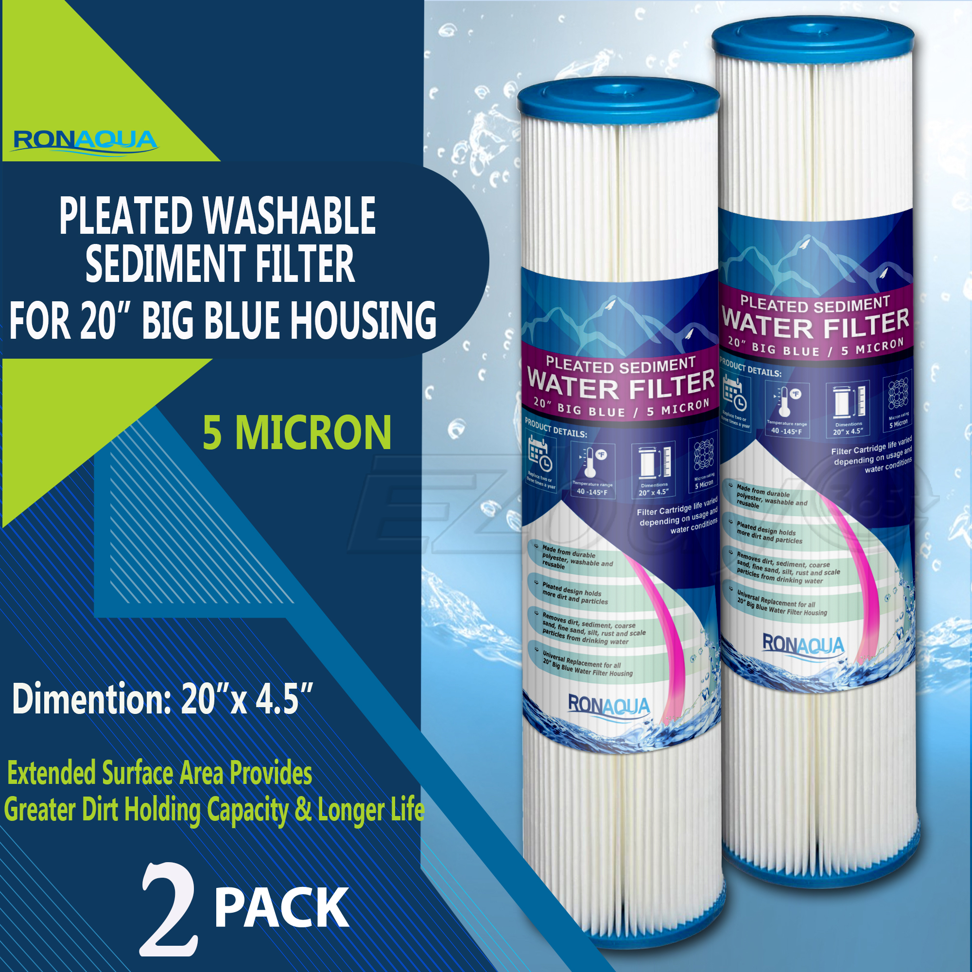"Big Blue Pleated Washable & Reusable Sediment Filter 5 Micron Amplified Surface Area, Removes Sand, Dirt, Silt, Rust, Extended Filter Life for 20"" Big Blue Housing, by Ronaqua (Set of 2)"