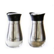 Salt and Pepper Shaker Set Stainless Steel & Glass (4.42 Oz)