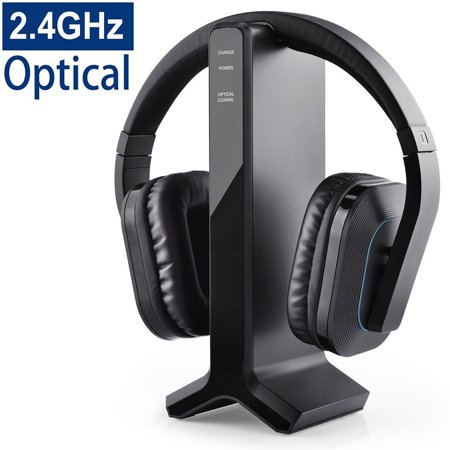 Avantree HT280 2.4G RF Wireless Headphones for TV Watching with Transmitter Charging Dock, Ideal for Seniors & Hearing Impaired, Features High Volume Settings, No Delay & Auto Pairing, 100ft (3 Source Rf Headphone Transmitter)