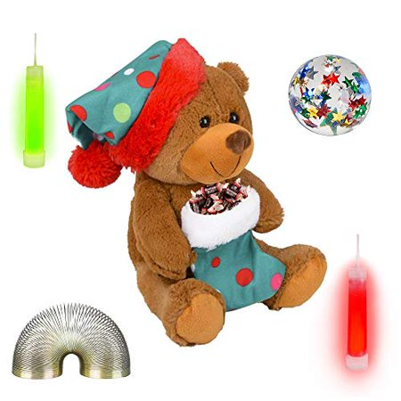 "Christmas 9"" Plush Brown Bear, Stocking, Candy, Bounce Ball, Glow Sticks, & Coil Fidget Gift Set (10 Piece)"