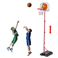 "Basketball Hoop Stand Backboard System for Kids Junior Basketball Toys Set with 67"" Adjustable Height Portable Stand Basketball Set Sport Game Play Toys Set Indoor Outdoor Fun Toys"