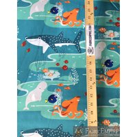 "100% Cotton Fabric Quilt Disney Finding Nemo Undersea Friends Turquoise Licensed 45"" Wide Sold By The Yard"