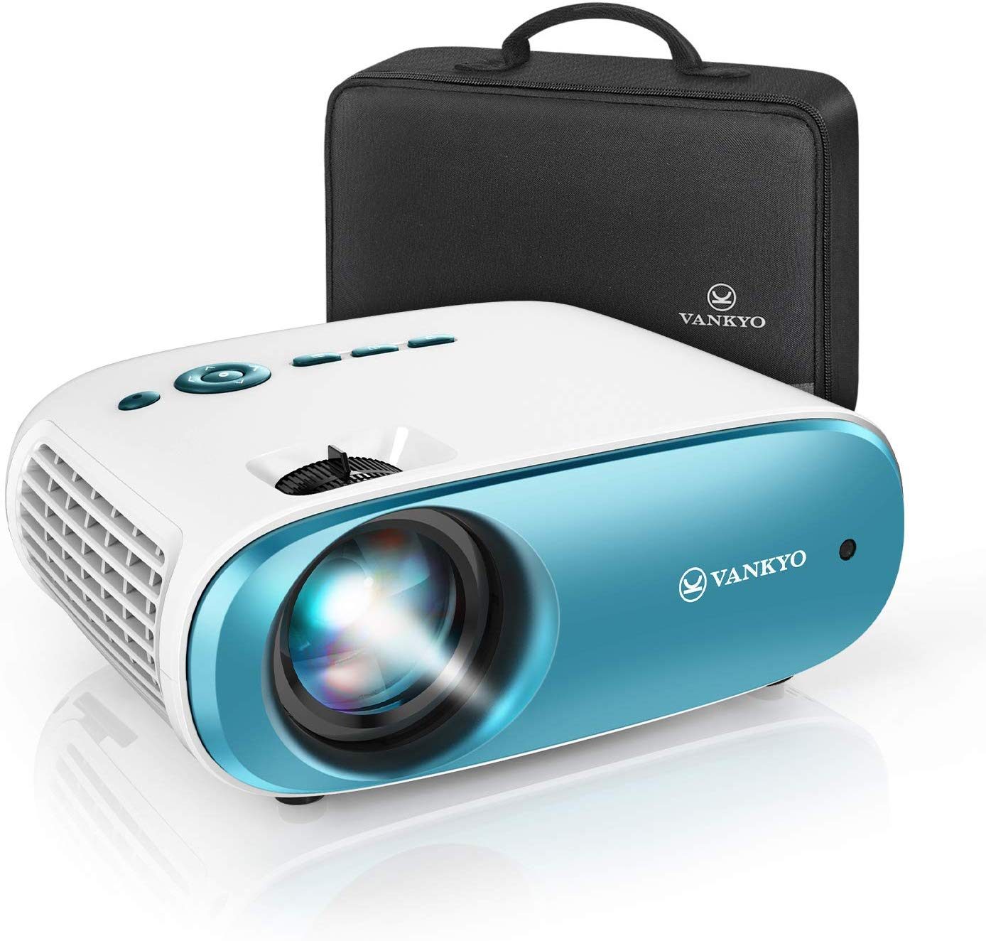 """VANKYO Cinemango 100 Mini Video Projector, HD Movie Projector Support 1080P, 220"""" Display, 50,000 Hrs Lamp Life, Compatible with TV Stick, HDMIx2, USBx2, VGA, TF, AV for Home Entertainment"""