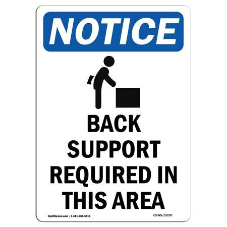 OSHA Notice Sign - Back Support Required Sign With Symbol 5