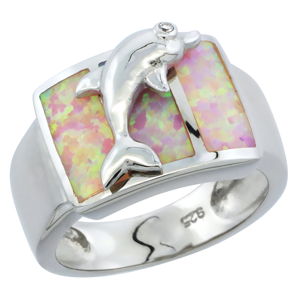 Sterling Silver Synthetic Pink Opal Dolphin Ring, 1 2 inch by WorldJewels