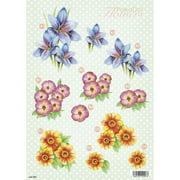 """3D Die-Cut Decoupage Sheet 8.3""""X11.69""""-Polka Dot Flowers"""