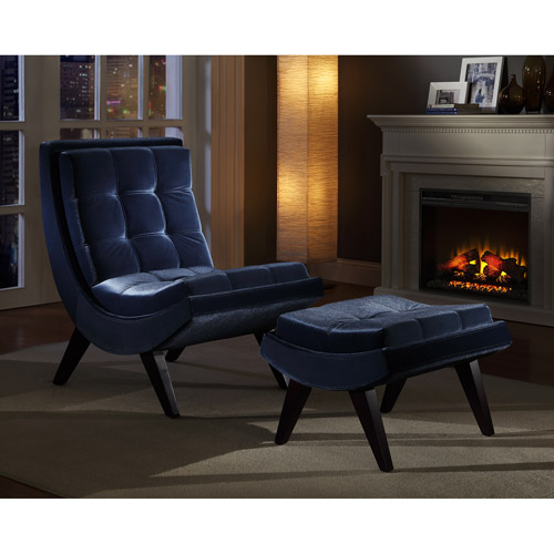 Charming Tufted Occasional Chair And Ottoman, Blue Velvet