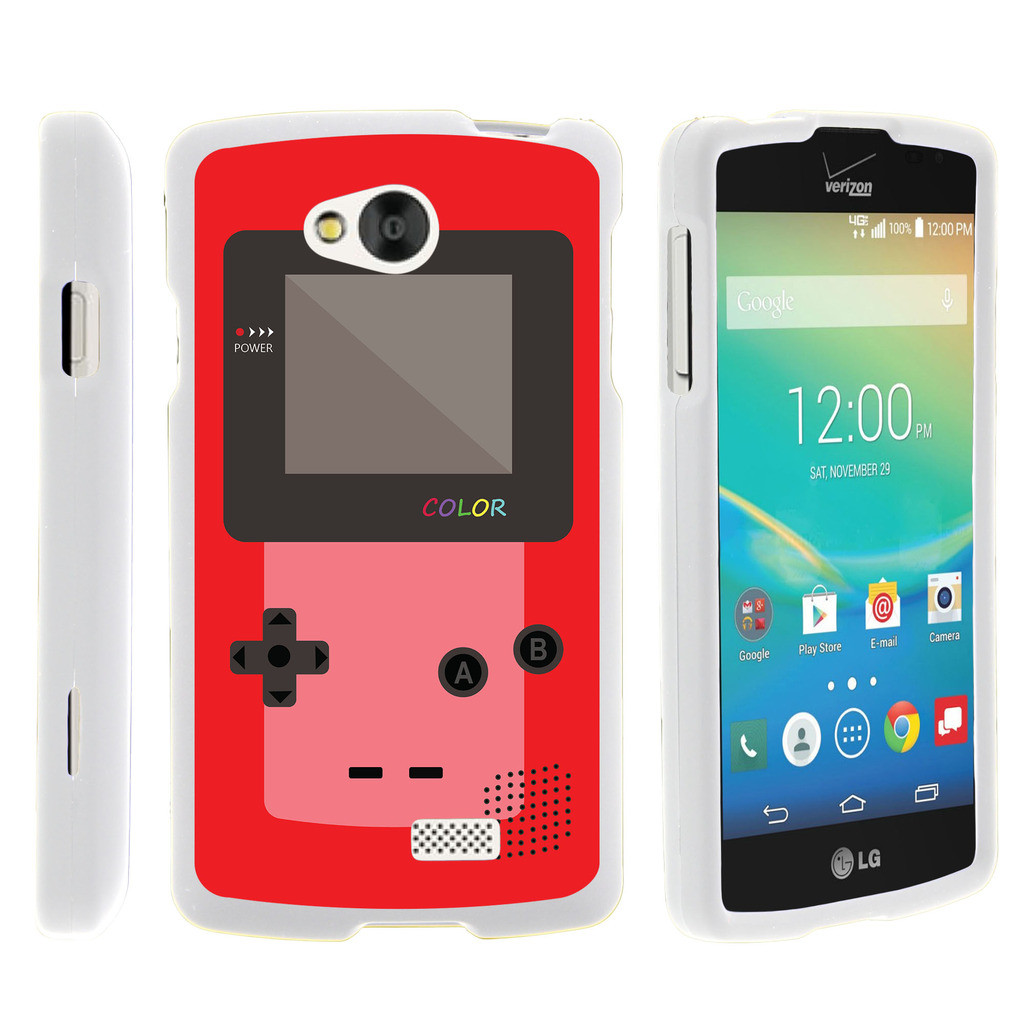 LG Tribute, LG Transpyre, LG Optimus F60, [SNAP SHELL][White] Hard White Plastic Case with Non Slip Matte Coating with Custom Designs - Red Gameboy Color