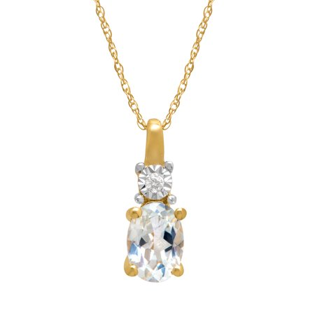 7/8 ct Natural White Topaz Pendant Necklace with Diamond in 10kt Gold