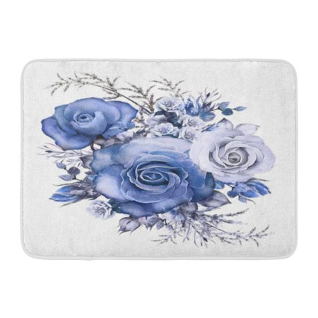 Blue Flowers Gray Leaves (GODPOK Gray Watercolor Flowers Floral Blue Rose Branch of White Leaf and Buds Cute Composition for Wedding Rug Doormat Bath Mat 23.6x15.7 inch)