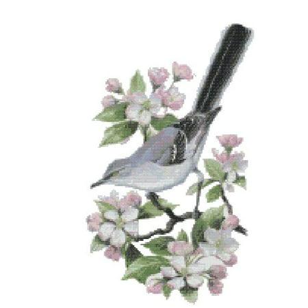 Apple Blossom State Flower - Arkansas State Bird and Flower Northern Mockingbird and Apple Blossom Counted Cross Stitch Pattern