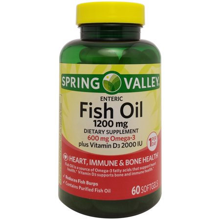 Spring valley fish oil enteric softgels 1200 mg 60 ct for How many mg of fish oil per day