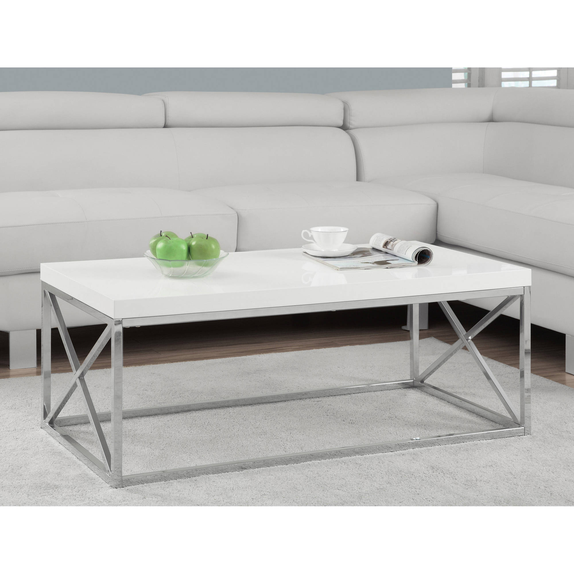 Monarch coffee table glossy white with chrome metal walmart geotapseo Image collections