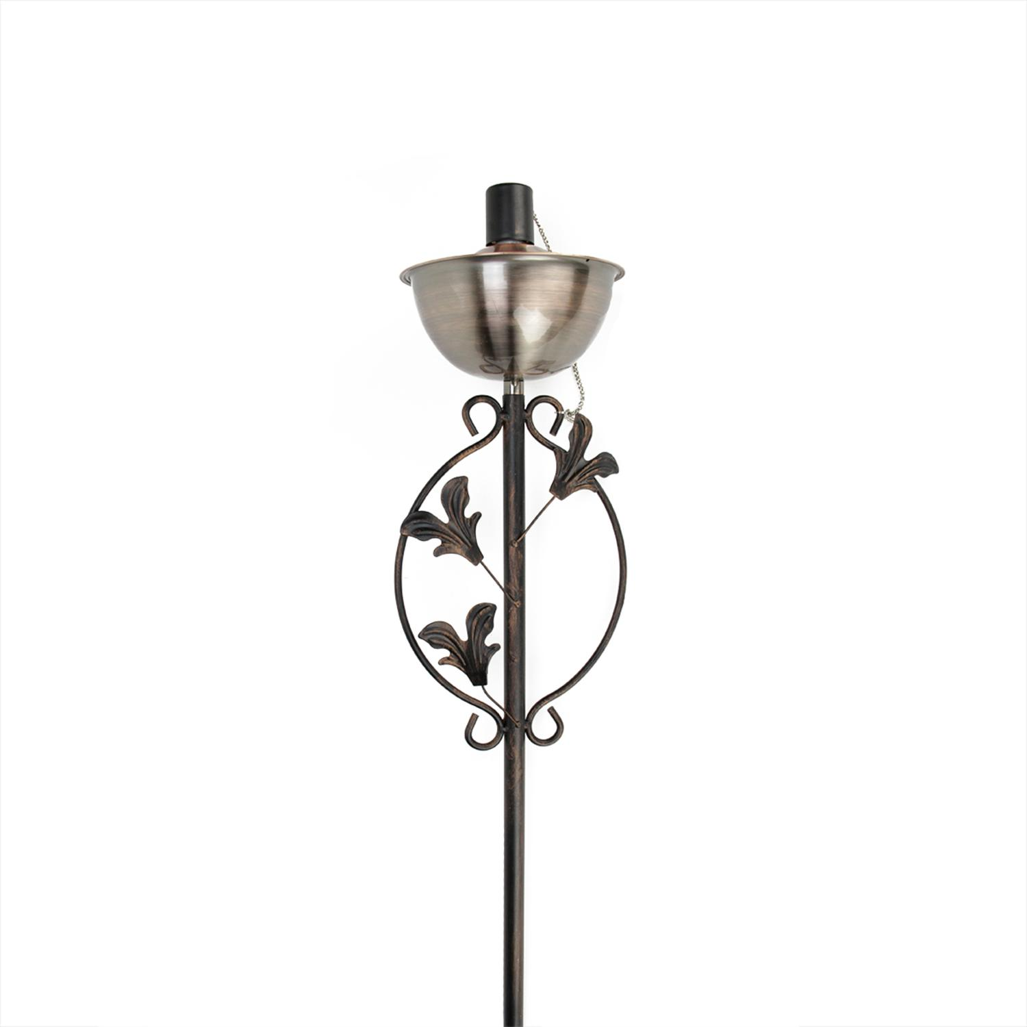 "64.5"" Brushed Copper Floral Motif Garden Oil Lamp Outdoor Patio Torch by DAK"