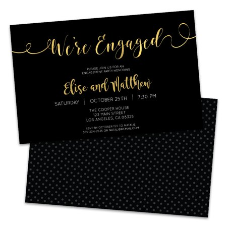 Personalized Black and Gold Engagement Party Invitations](Black And Gold Invitations)