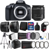 Canon EOS 1300D / T6 18MP Digital SLR Camera with 18-55mm Lens , TTL Flash and 32GB Accessory Bundle Canon EOS 1300D 18MP DSLR Camera + 18-55mm + 58mm 3pc Filter Kit + Macro Kit + Wide Angle & Telephoto Lens + 32GB Memory Card + Gadget Bag + Lens Cap Holder +  Card Reader + Wallet + Slave Flash + Diffuser + Cleaning Kit + Large Tripod + Small Tripod
