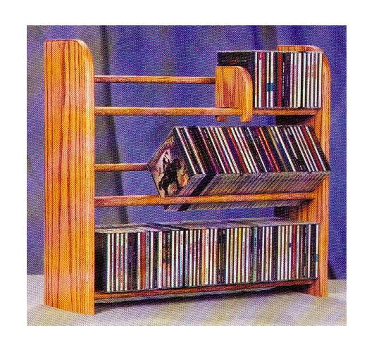3 Row Dowel CD Rack (Honey Oak)