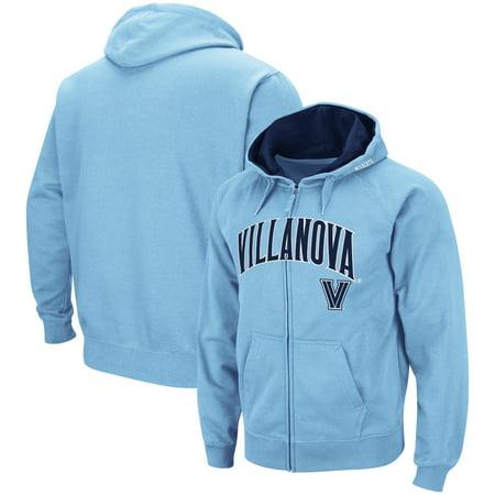 Villanova Wildcats Colosseum Arch & Logo Tackle Twill Full-Zip Hoodie - Light Blue