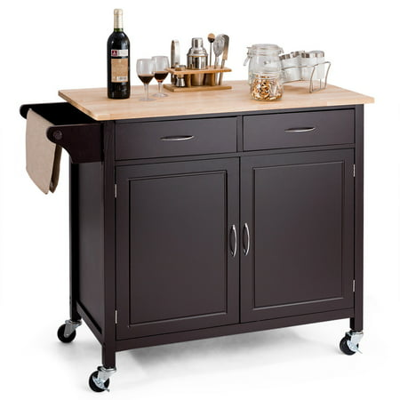 Modern Rolling Kitchen Cart Island Wood Top Storage Trolley Cabinet Utility - image 9 de 9