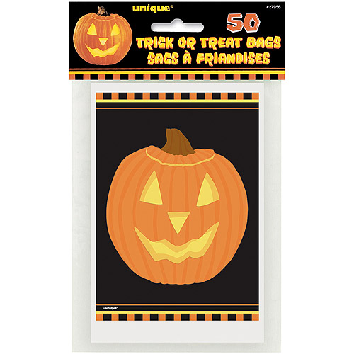 Pumpkin Glow Halloween Favor Bags, 50ct