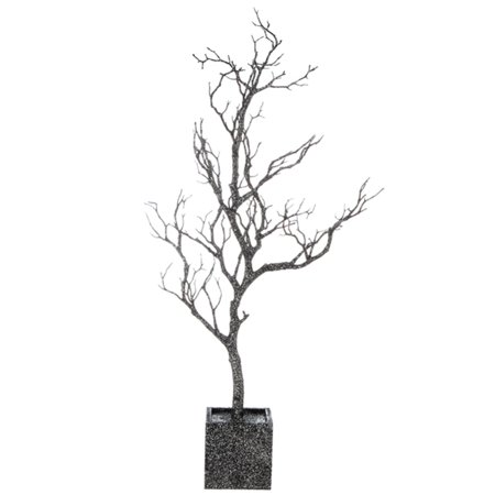 """31"""" Silver Glitter Twig Tree Halloween Table Top Decoration"""
