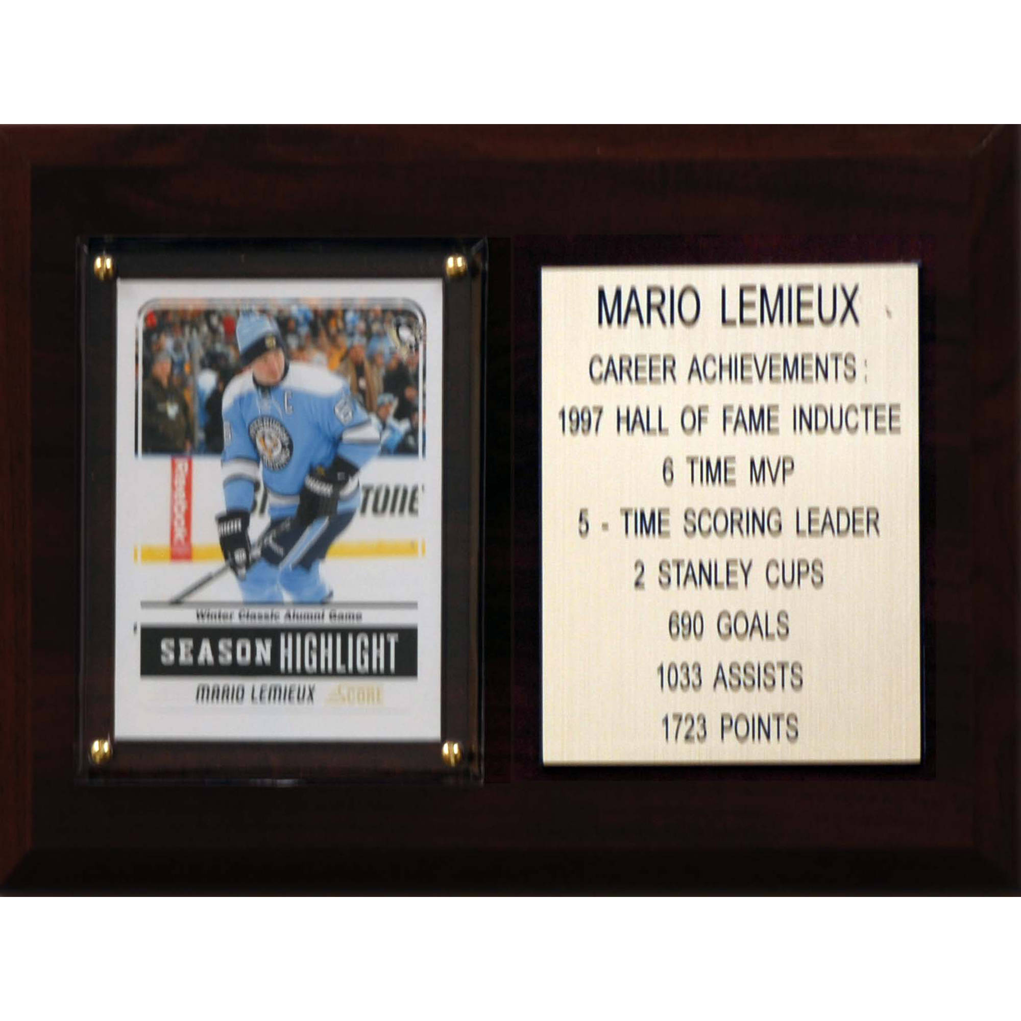 C&I Collectables NHL 6x8 Mario Lemieux Pittsburgh Penguins Career Stat Plaque