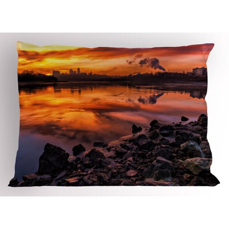 Landscape Pillow Sham Usa Missouri Kansas City Scenery of a Sunset Lake Nature Camping Themed Art Photo, Decorative Standard Size Printed Pillowcase, 26 X 20 Inches, Multicolor, by Ambesonne