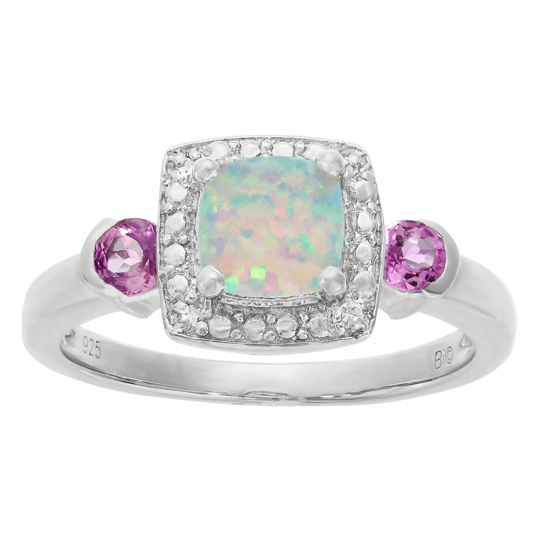 6 MM White Opal Pink Sapphire .02 cttw Diamond Silver Ring Size 7 by Metro Jewelry