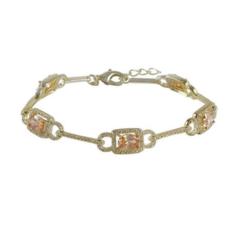 Dlux Jewels Champagne Cubic Zirconia White Cubic Zirconia with Gold Plated Brass Bracelet, 7.25 in. - image 1 of 1