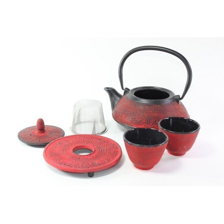 Japanese Antique 24 Fl Oz Red Archaize Japanese Cast Iron Teapot Tetsubin with Infuser Tea Set with Trivet