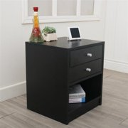 Round Handle Night Stands,End Table Bedroom Furniture Bedside Shelf Nightstand Bookcase Drawer Organizer Dresser Bedside Table for Bedroom Set with Two Drawer(40 x 36 x 47cm)