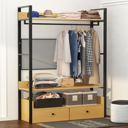 Tribesigns Heavy Duty Closet Organizer Freestanding Clothes Storage With 2 Drawers And Shelf Large Garment Rack Wardrobe