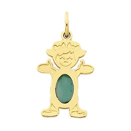 Little Girl Birthstone Charm - 14K Yellow Gold Waving Little Girl Emerald Pendant Charm - 12x21MM