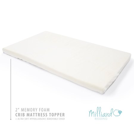 Foam Mattress Bed Pad - Milliard 2-Inch Ventilated Memory Foam Crib/Toddler Bed Mattress Topper with Removable Waterproof 65-Percent Cotton Non-Slip Cover - 51.5