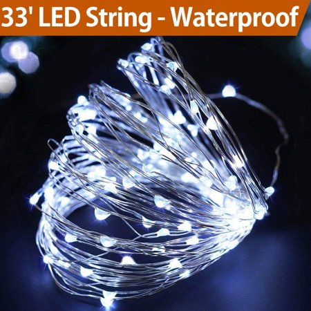 33' Cool White Fairy Lights Battery Operated - LED String Lights Battery Powered with Timer - Outdoor Lighted Christmas Garland Lights - Cool White Christmas Tree Lights Battery BZA