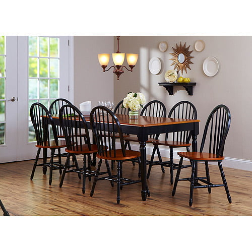 Better Homes And Gardens Autumn Lane 9 Piece Dining Set With Leaf, Black/Oak    Walmart.com