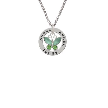 Butterfly with Green Wings Angel Affirmation Ring Necklace - Butterfly With Angel Wings