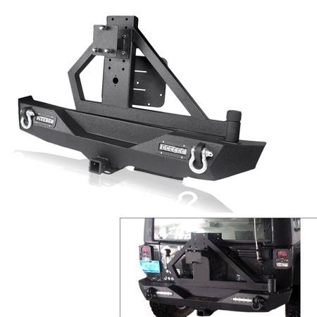 Jeep Bumper Tire Carrier - GZYF Black Textured Rear Bumper with Tire Carrier & LED Lights & Hitch Receiver & 2 D-Rings for 07-16 Jeep Wrangler JK Off Road
