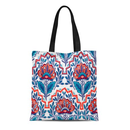 LADDKE Canvas Tote Bag Pattern Fantasy Flowers Natural Floral Curl Paisley Bohemian Ethnic Reusable Shoulder Grocery Shopping Bags Handbag