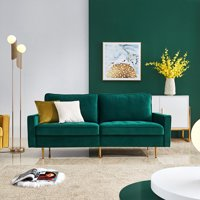 Mid Century Sectional Sofa Couch, Upholstered Couch with Metal Legs, High End Velvet Fabric Modern Couches and Sofas with 2 Soft Pillows, Loveseat Sofa for Living Room, Holds 700 lbs, Emerald, Q9238