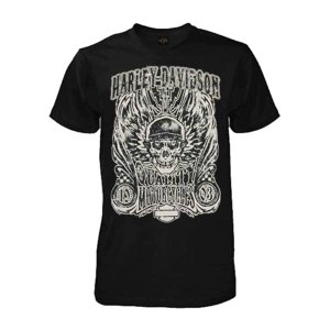 Mens Overload Skull Distressed Short Sleeve Shirt Black 30298305, Harley Davidson