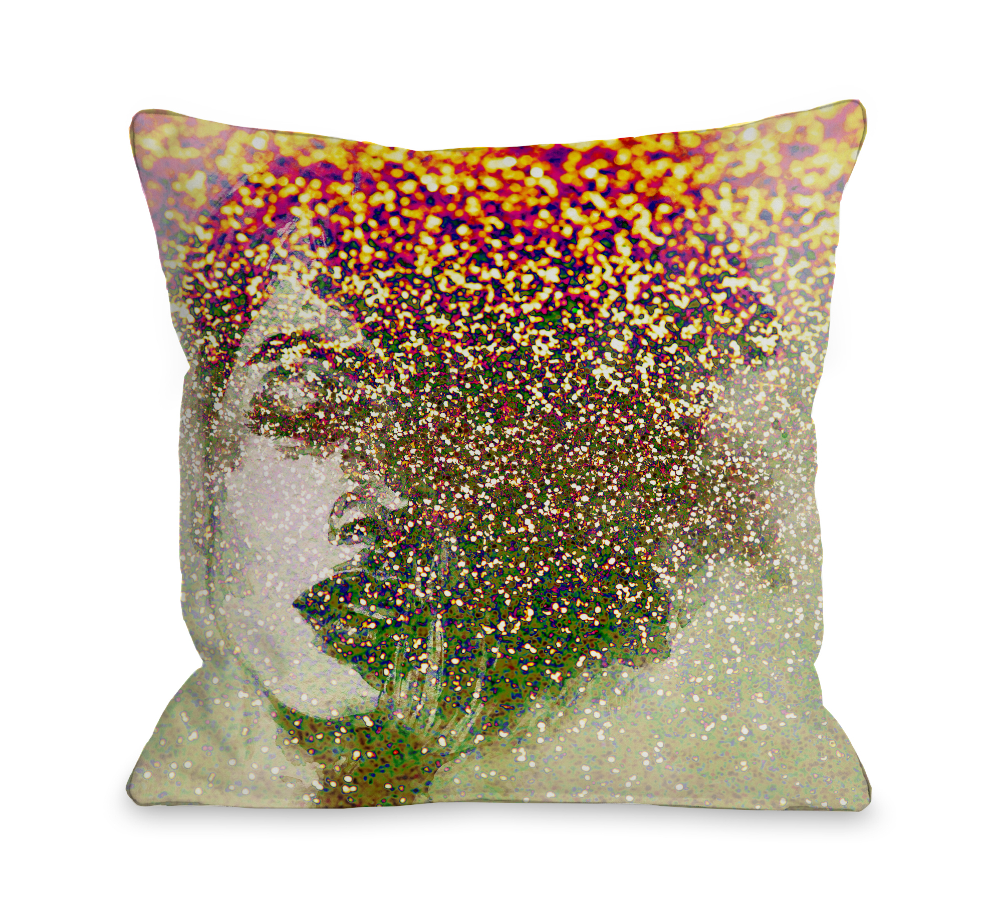 Closed Eyes - Tan Multi 16x16 Pillow by OBC
