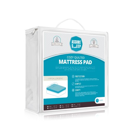 Assure Sleep Quilted Mattress Pad Cover, Twin - Twin Quilted Organic Wool