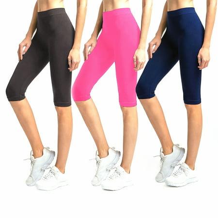 Knee Length Chemise - Solid Knee Length Short Spandex Yoga Leggings 3 Pack (Charcoal Neon Pink Navy)